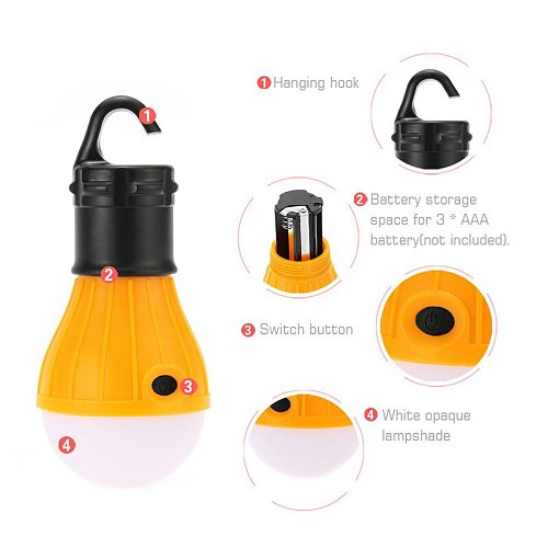 Portable 4 Colors Tent Lamp LED Tent Light Hook Hurricane Emergency Lights Tent Lantern Bulb for Camping Fishing Use 3*AAA