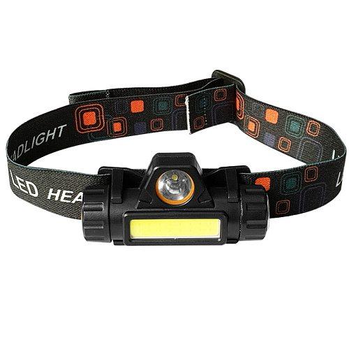1PC Portable Headlamp Waterproof Super Bright XPE+COB LED USB Charging For Outdoor Camping Fishing Mini Headlights Flashlight