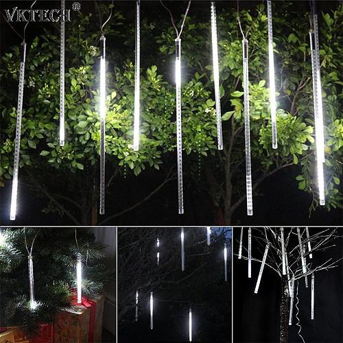 30cm 10 Tubes LED Solar Powered Meteor Shower Light Waterproof Garland Fairy Strip Light Christmas Wedding Party Decoration