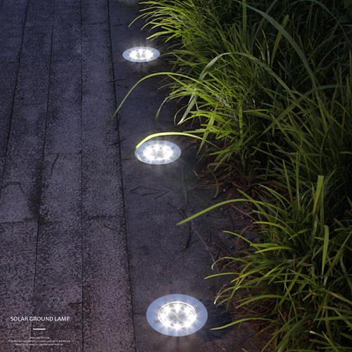 Solar Waterproof Lawn Lights Ip65 8 12 16 20led Solar Underground Lights Stainless Steel Outdoor Garden Path Ground Lights