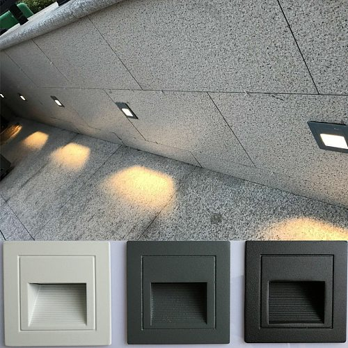 LED Wall Lamp Recessed Stair Light Indoor Outdoor Decoration Step Light Ladder Stairway Night light Corridor Wall Lamp Aluminum