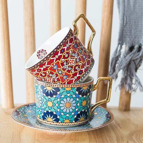 Arrival Morocco Style Coffee Tables Cup with Saucer Porcelain Cup Set for Home Kitchen Office Table Drinkware Gift for Wedding