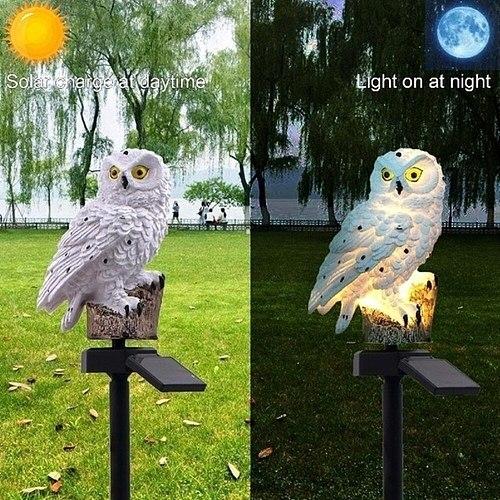 2 Pcs Owl Stake LED-Lawn-Solar-Lamps Outdoor IP66 600MAH Yard Lawn Path Night Lights Christmas Garden Landscape Lighting