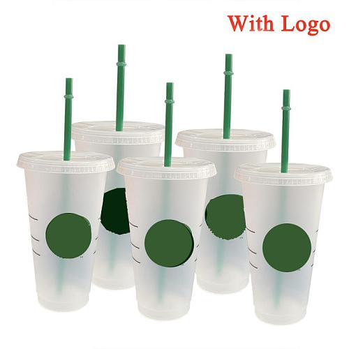 700ml Straw Cup With Lid With Logo Coffee Cup Reusable Cups Plastic Tumbler Matte Finish Coffee mug tazas Dropship Wholesale