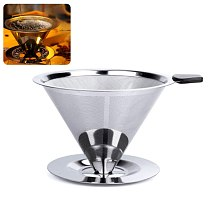 Pour Over Coffee Dripper Stainless Steel Coffee Filter Removable Dripper with Stand Reusable Cone Dripper Cup Stand and Brush