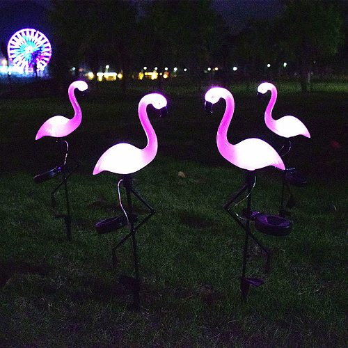 Solar Plug In Lamp Outdoor Waterproof High Imitation Flamingo Lawn Lamp Valentine's Day Decorative Lamp