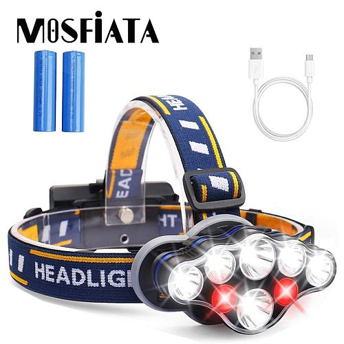 MOSFiATA LED Headlamp 8 LED 8 Modes Headlight 18650 Battery USB Rechargeable Waterproof Head Lamp for Camping Gear