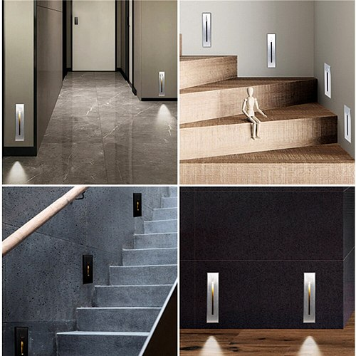 3W Recessed Led Stair Light Indoor IP20 Outdoor IP65 Corner Wall lights Stairs Step Stairway Hallway Staircase Lamp AC85-265V