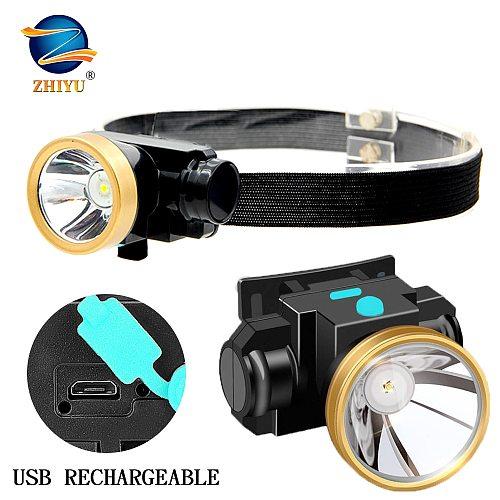 ZHIYU Portable Mini Headlight CREE Led Headlamp High Power Built-in 18650 Battery Rechargeable Bright Head-mounted Flashlight