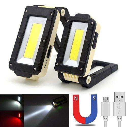 LED Working Lamp COB+LED USB Rechargeable Magnetic Torch 180 degree adjustment Bottom Lamp Cordless Worklight Flashlight