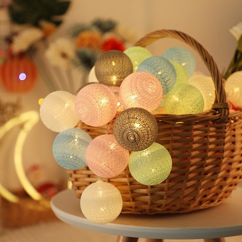 6m/3m/1.5m LED Cotton Ball Garland Lights String Christmas Xmas Outdoor Holiday Wedding Party Baby Bed Fairy Lights Decoration