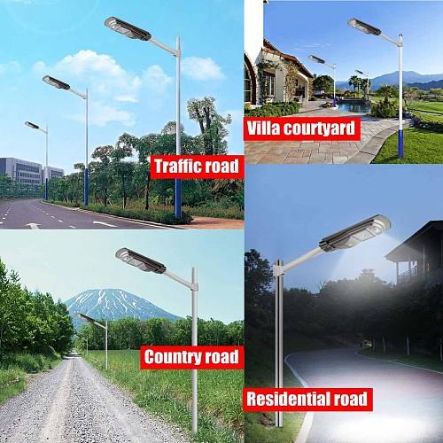 Smuxi 120W/240W/360W LED Solar Street Light Waterproof IP65 PIR Motion Sensor Remote Control Outdoor Lighting Security Lamp