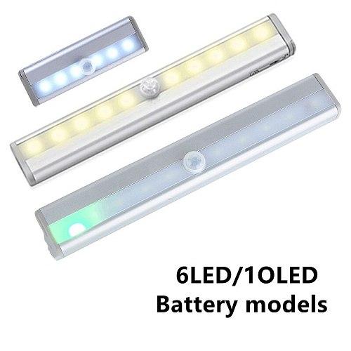 6/10cm LEDs PIR LED Motion Sensor Light Cupboard Wardrobe Under Cabinet Night Light Bed Lamp LED   for Closet Kitchen Stairs