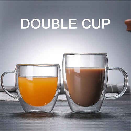 Creative Heat-resistant Drinking Glass Double Bottom Mug Transparent Coffee Tea Whiskey Cocktail Vodka Beer Cup Double Glass cup