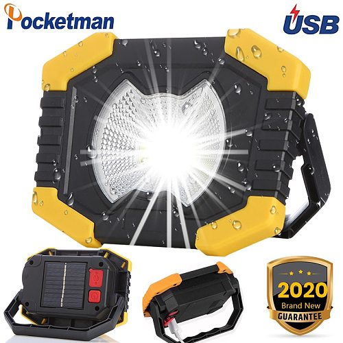 100W Led Work Light 180 Degrees Adjustable Lanterns Built-in Battery Spotlight Rechargeable Solar energy Lamp Outdoor Camping