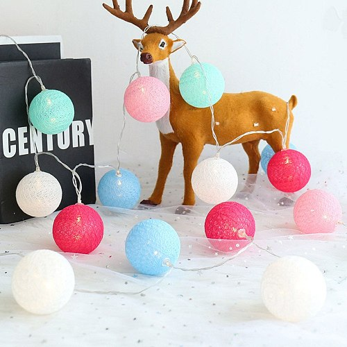QYJSD LED Garland Cotton Balls String Light New Year Wedding Birthday Christmas Bedroom Babybed Decor Fairy Lights Accessories