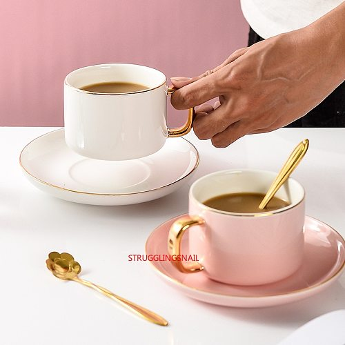 1SET Ceramic Coffee Cup And Saucer Set European Style Light Luxury Gold Afternoon Tea Milk Juice Breakfast Cup Saucer Spoon Gift