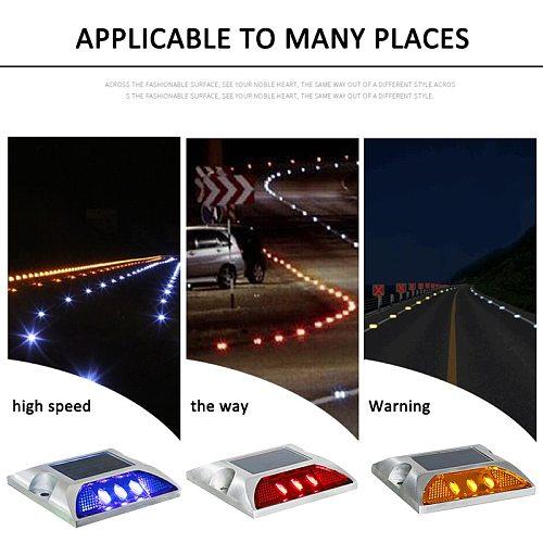 IP68 Waterproof Solar Powered 6LED Road Stud Light Aluminum Road Reflective Light Ground Warning Light