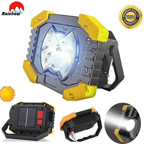 Powerful Portable Solar Spotlight 8000lm 180' Adjustable Lanterns Built-in Battery Camping Light Rechargeable Flashlight Lamp