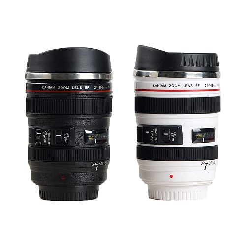 Stainless Steel Camera EF24-105mm Coffee Lens Mug White Black Coffee Mugs Creative Gift Coffee Cups canecas tazas vaso café