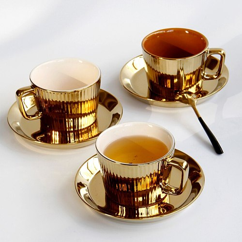 250ml Gold Plated Ceramic Tea Coffee Cup & Saucer Set European Style - White