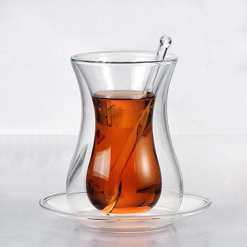 Beauty Black Tea Cup Saucer Teaspoon Sets Turkish Bohea Double Wall Glass Insulated Thermal Cafe ESPRESSO SHOT Coffee Mug Teacup