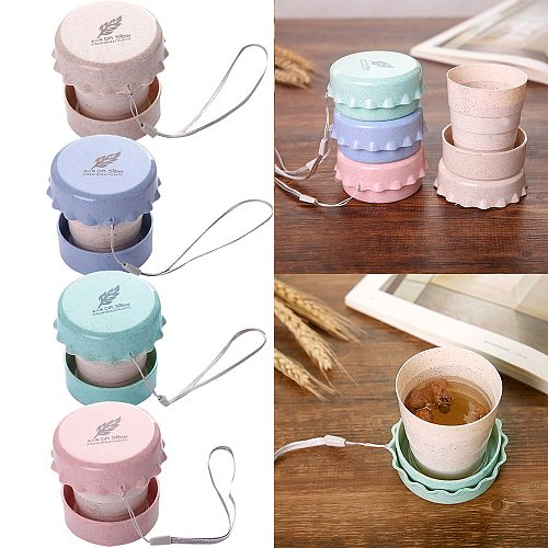 Portable Straw Wheat Plastic Telescopic Drinking Collapsible Folding Cup Travel Camping Convenient Easy To Carry Travel Bottle