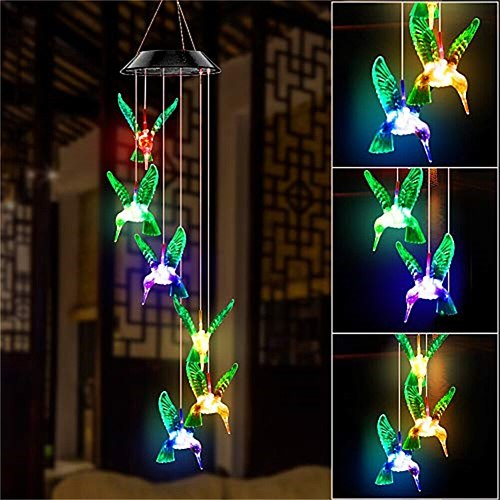 LED Colorful Solar Power Wind Chime Crystal Hummingbird Butterfly Waterproof Outdoor Windchime Solar Light for Garden New