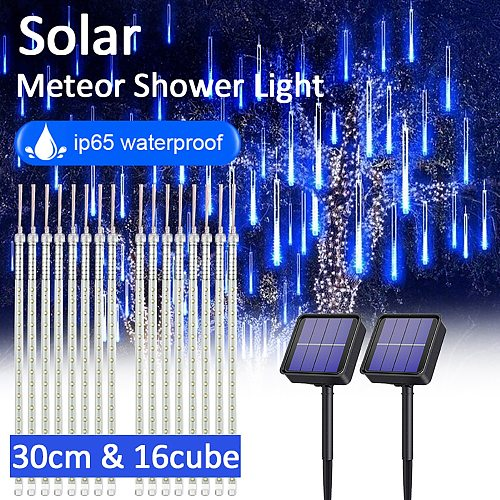 144LED/288LED Solar Meteor Shower String Lights 30CM Waterproof Xmas Decoration Light Falling String Lights for Party Xmas Lamps