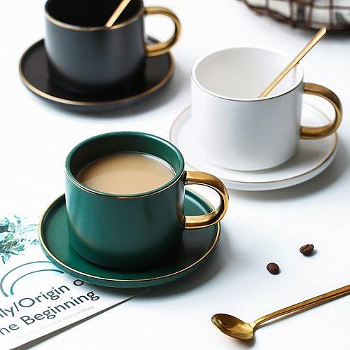 Green Ceramics Coffee latte mug Drinkware Soy Milk Breakfast cup fine bone china cute tumbler tea cups and saucer Spoon set
