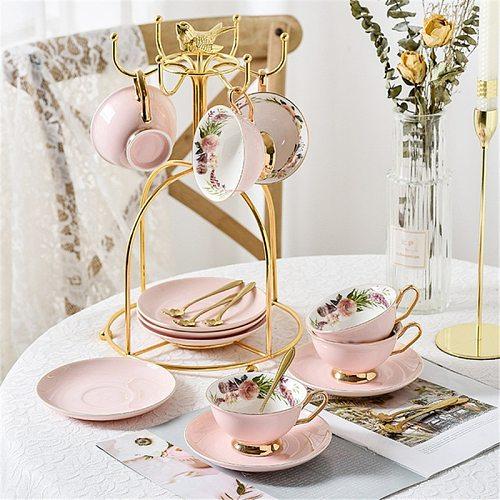 Ceramic Coffee Cup Elegant Flower Tea Cup and Saucer Afternoon Dessert Porcelain Tea Cup Saucer Set Tea Cafe Espresso Cup
