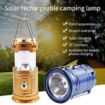 Portable Solar Power Rechargeable Lamp Camping Flashlight Retractable Emergency Lighting Camping Lantern Collapsible Lamp