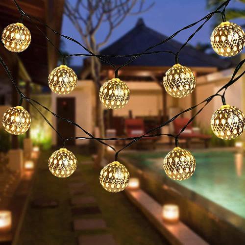 Solar String Lights Moroccan Ball  50LED20LE  Globe Fairy Lights Solar Powered Orb Lantern Christmas Lighting for Outdoor Decors