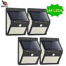 NAAISI 144 100 LED Solar Light Outdoor Solar Lamp PIR Motion Sensor Solar Powered Sunlight Street Light for Garden Decoration