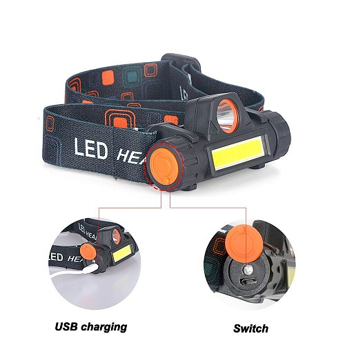 XIWANGFIRE Waterproof LED Headlamp COB Work Light  with Magnet Headlight Built-in 18650 Battery Suit for Fishing, Camping, Etc