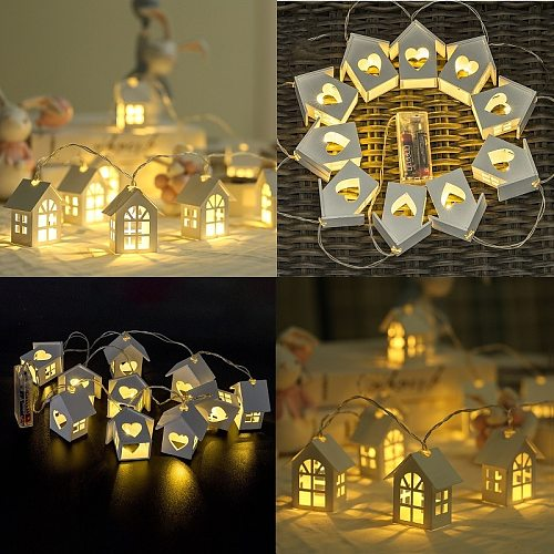 10LED/20LED Garland European Style Wood Love Heart House String Light 1.5M/3M Room Decor Wedding Party Fairy Lamp