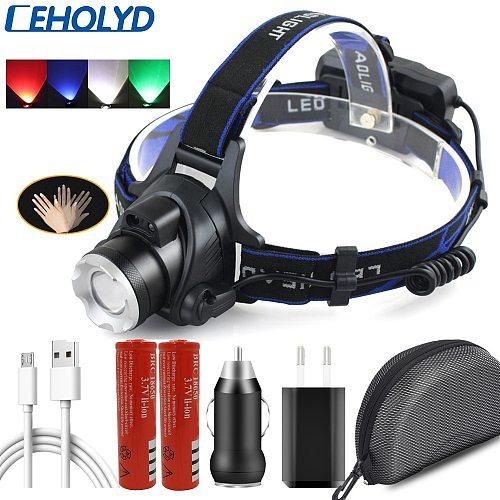2 Led Bulbs XM-L2 U3 T6 Headlamp Sensor Head Flashlight Lamp Torch Headlights Waterproof Usb Rechargeable 18650 Battery Lantern