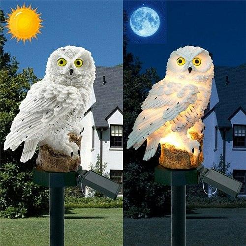 2 Colours Outdoor Garden Sculptures Lamp Owl Shape for Garden Decoration Waterproof Bird Resin Yard Garden Decor Sculptures XNC