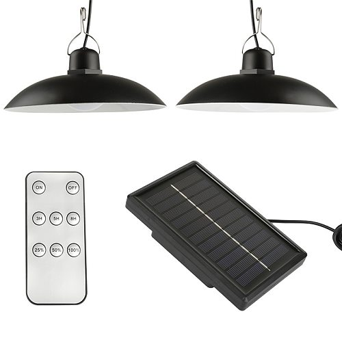 LED Solar Head Lamp Outdoor/Indoor Emergency Light Cord Waterproof For Camping Terrace Tent Chandelier WIth Remote Control