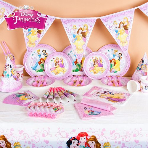 Disney Princess Theme Birthday Party Cartoon Disposable paper plate cup Kids favors Wedding decor Baby Shower Party Supplies