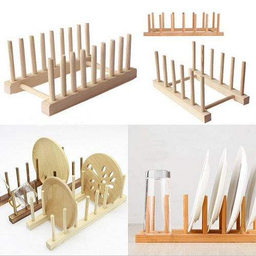 Kitchen Dish Drain Rack Dinnerware Storage Organizer Tray Plate Drying Shelf Wooden Book Cups Display Stand Drainer Holder