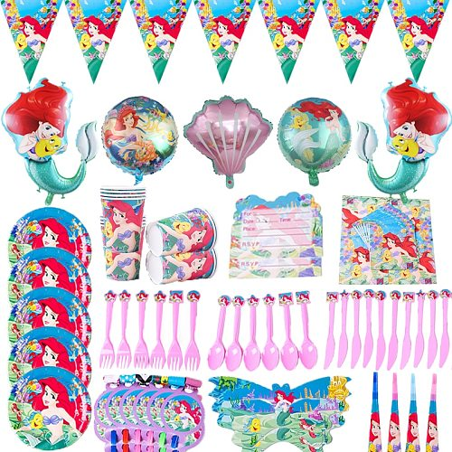 Little Mermaid Party Disposable Tableware Paper Cup Plate Straw Balloon Baby Girl Birthday Party Baby Shower Decoration Supply
