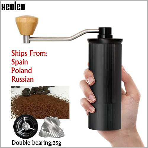 XEOLEO 50MM Aluminum Manual Coffee grinder Stainless steel Burr grinder Conical Coffe bean miller Manual Coffee Milling machine