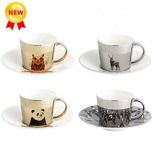 2020 Creative Specular Reflection Coffee Mug with Tray Animal Series Mirror Reflection Coffee Cup Coffeeware Saucer Set