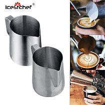 ICESTCHEF 150/350/600ML Frothing Pitcher Pull Flower Cup Stainless Steel Coffee Milk Foam Mug Milk Frothing Jug Thermo Latte Art