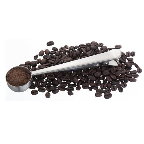 Stainless Steel Coffee Scoops Measuring Spoon with Sealing Clip Coffee Measuring Milk Powder Seasoning Seasoning Ice Cream Spoon