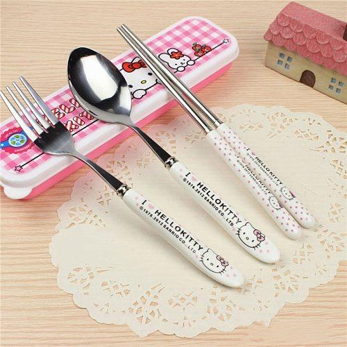 3PCS/Set Cute Cat Dinnerware Kitchen Supplies Spoon Chopsticks Set Accesorios Utensil Flatware Spoon And Fork For Kids Children
