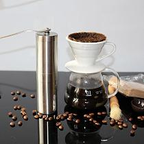 1Pcs Stainless Steel Hand Manual Handmade Coffee Bean Grinder Mill Kitchen Tool Silver Coffee Accessories