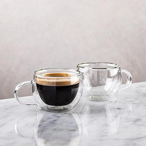 Glass Turkish Coffee Espresso Cup Double-Skinned the Coffeeware Arabic Coffee Tea Cup High Temp Resistance Set 2 Pieces 80 ml