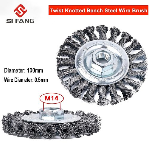 4 Inch Knotted Bench Steel Wire Brush Deburring Derusting Angle Grinder Cleaner 100mm Rust Removal Wheel Metal Disc Brush